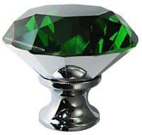 OVO® TEZ® Dali 40mm Green Diamond Cut Crystal Knob Handle - Silver Glazed
